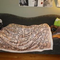 Retro Dungeon Map Plush Throw Blanket