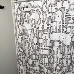 Retro Dungeon Map Shower Curtain